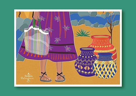 Tarahumara's Baskets Illustrated Art Print