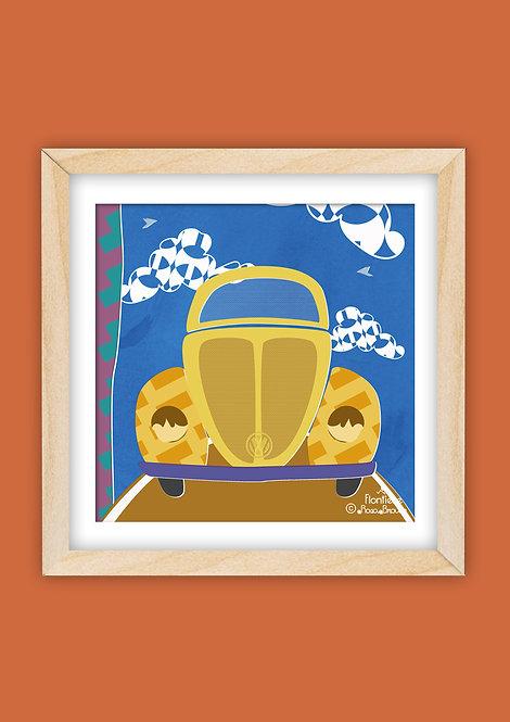 Yellow VW Beetle (Square)
