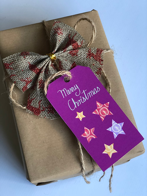 Illustrated Christmas Trees/Stars Gift Tags/Pink