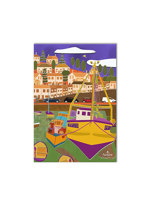 """Mevagissey Harbour Boats, UK "" Illustrated Art Print"