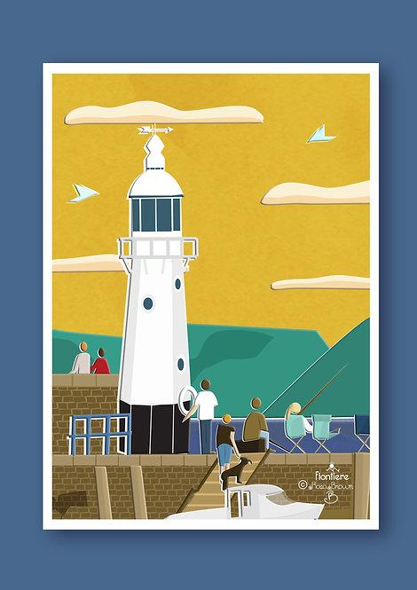 Cornwall Light House  Art Print Illustration