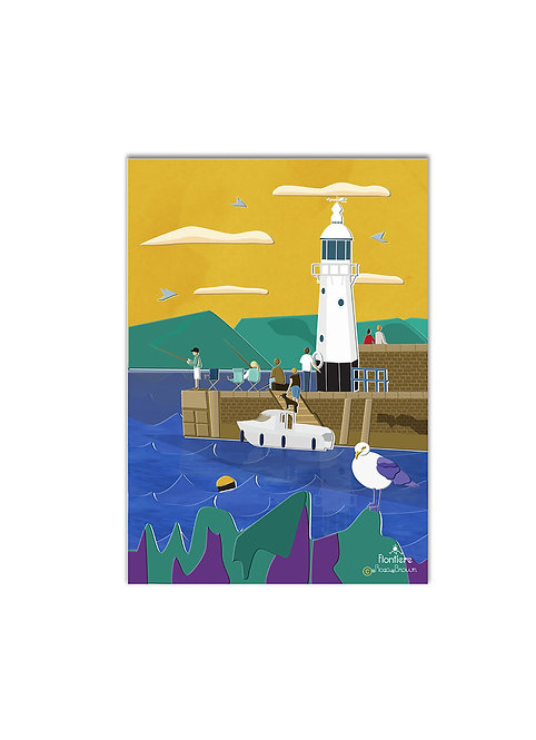 """Cornish Coast, UK""  Illustrated Art Print"