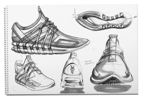 Konstantin Baumann VOID Sneaker Project Renderings Sketches Shoe Adidas Nike concept
