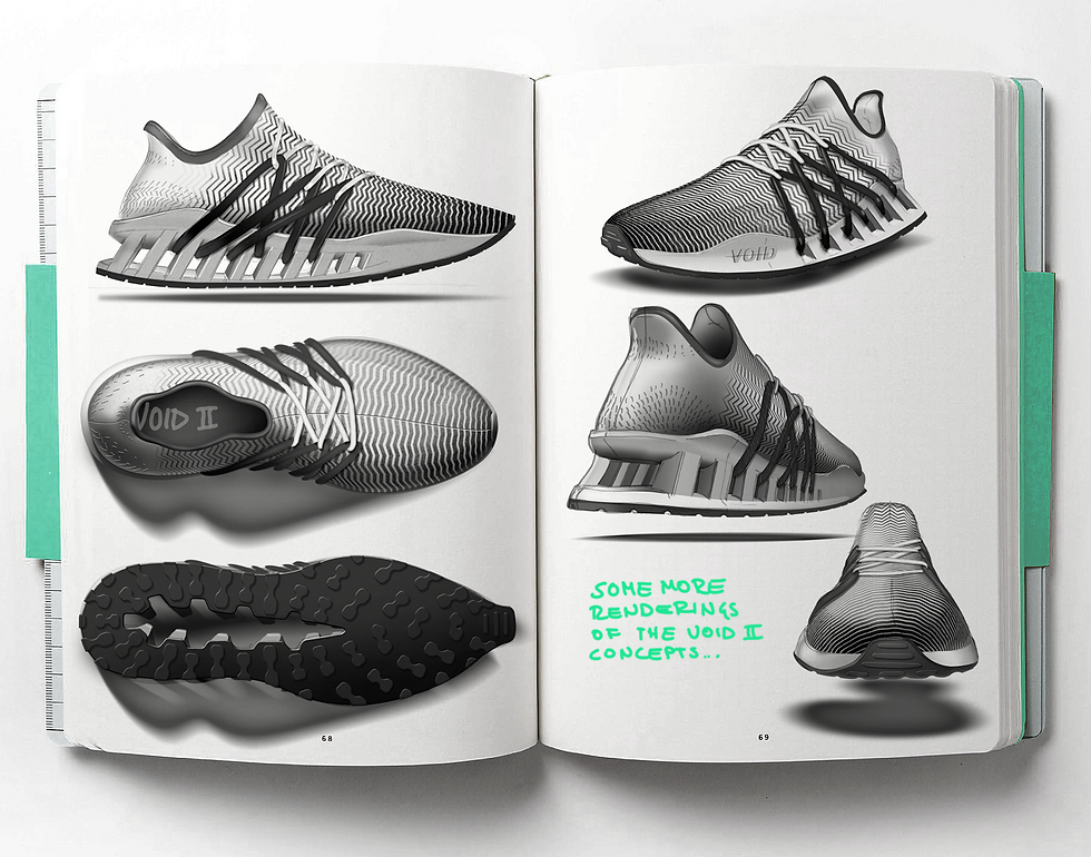 Sneaker Renderings Konstantin Baumann kamuii_id kamuii.ooo Industrial Design Photoshop Sketch scribble void version 2 adidas nike