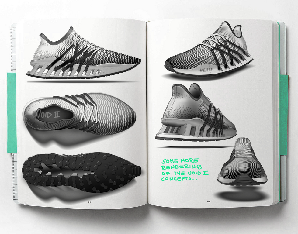 Sneaker Renderings Konstantin Baumann kamuii_id kamuii.ooo Industrial Design Photoshop Sketch scribble void version 2 adidas nike