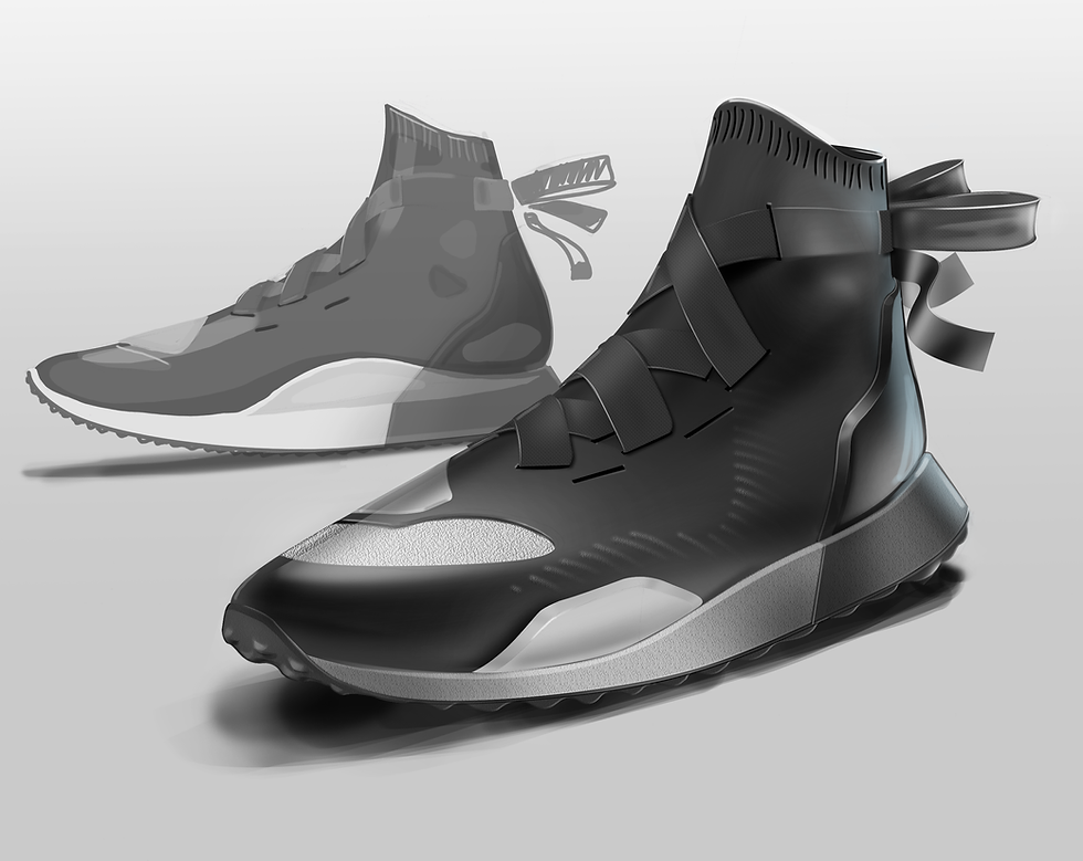 Sneaker Renderings Konstantin Baumann kamuii_id kamuii.ooo Industrial Design Photoshop Sketch scribble ninja boots ballet shoes concept kicks paint brush