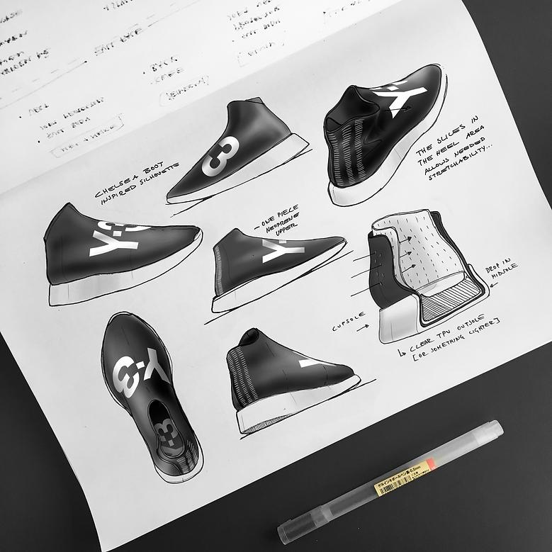 Sneaker Renderings Konstantin Baumann kamuii_id kamuii.ooo Industrial Design Photoshop Sketch scribble y-3 yamamoto yohji chukka chelsea boots adidas nike conceptkicks
