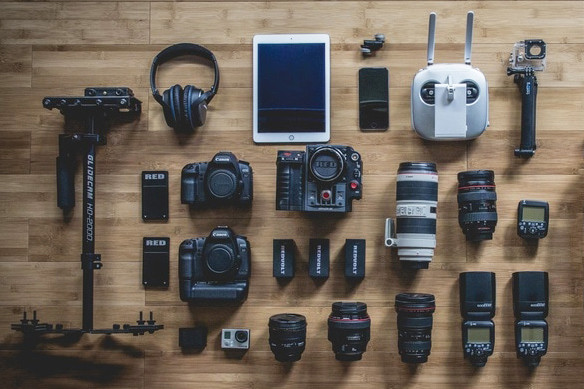 gadgets on floorboards