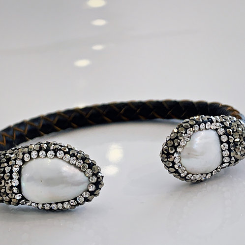 Isis Leather and Pearl Bracelet
