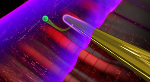 When laser light interacts with a nanoneedle (yellow), electromagnetic near fields are formed at its surface. A second laser pulse (purple) ejects an electron (green) from the needle, which can be used to characterize the near fields. Source: Christian Hackenberger