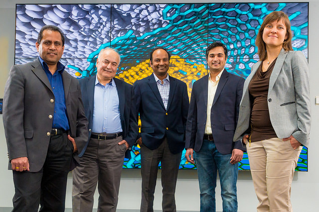 From left, researchers Ani Sumant, Ali Erdemir, Subramanian Sankaranarayanan, Sanket Deshmukh, and Diana Berman combined diamond, graphene, and carbon to achieve superlubricity.