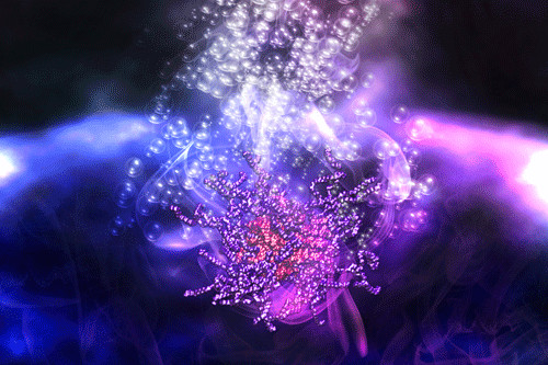 An artist's impression of myoglobin-based artificial membrane binding proteins supplying oxygen to the stem cells during tissue engineering. Warwick Bromley