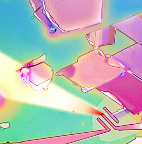 This is an image of a one-atom-deep layer of molybdenum disulfide with electrodes patterned by hot nano-tip in a new process called thermal scanning probe lithography. Researchers at NYU Tandon School of Engineering invented the process to produce high-quality semiconductors at a cost significantly lower than current electron beam lithography. @ NYU Tandon