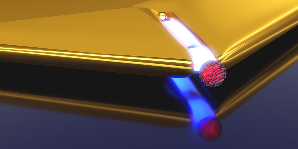 Artistic representation of a plasmonic nano-resonator realized by a narrow slit in a gold layer. Upon approaching the quantum dot (red) to the slit opening the coupling strength increases.  @ : Heiko Groß