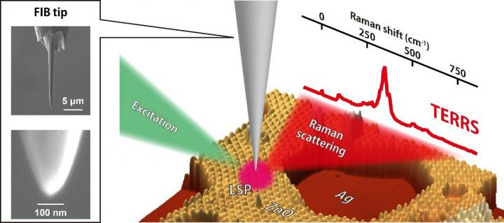 Tip-enhanced resonance Raman scattering is measured by a silver tip fabricated by focused ion beam (FIB) milling. Localized surface plasmon (LSP) is excited by an excitation laser, which generates enhanced Raman scattering from ultrathin zinc oxide (ZnO) films grown on a single-crystal silver (Ag) surface.  CREDIT Takashi Kumagai