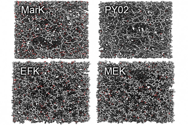 """Images produced by the researchers show the molecular structure of different samples of kerogen and reveal the significant structural differences between """"mature"""" kerogens, at top, and """"immature"""" kerogens, at bottom.  Courtesy of the researchers"""