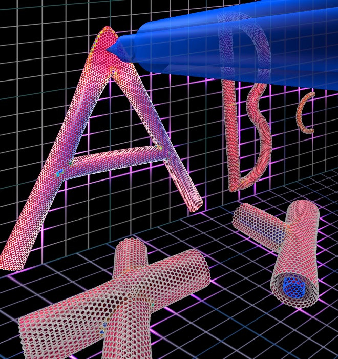 """Rice University scientists used a picoindenter to measure the stiffness of junctions in a nanotube """"alphabet."""" They determined its letters handle strain to varying degrees depending on their form. (Credit: Illustration by Evgeni Penev/Rice University)"""