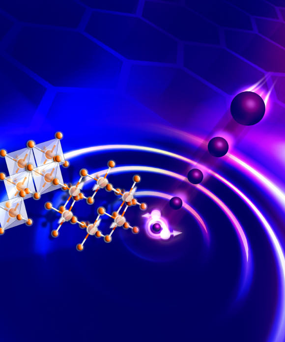 The excitation of a spin liquid on a honeycomb lattice with neutrons. Image credit: University of Cambridge.