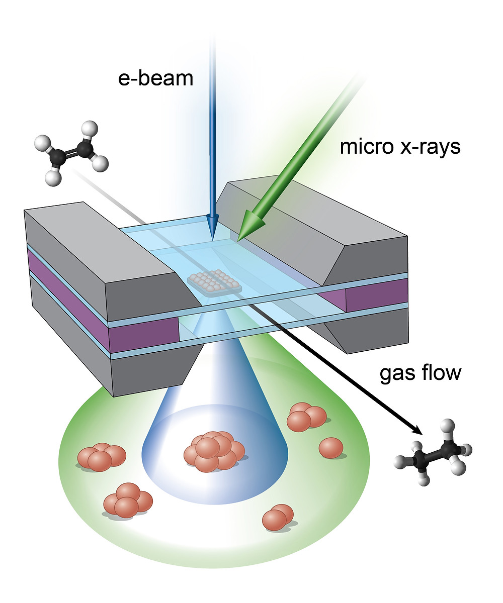 Illustration of the micro-reactor showing the complementary imaging areas of the electron beams (blue) and x-rays (green), which combine to reveal a full portrait of the real-time reaction.