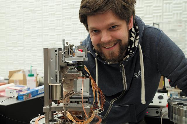 IBM scientist Fabian Menges with his invention.