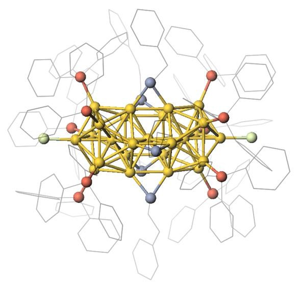 Model of the atomically precise gold clusters with 25 gold atoms and stabilizing ligand molecules.  @ Galchenko/Klinke: University of Hamburg/Swansea University