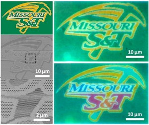 Missouri S&T researchers have developed a method to accurately print high-resolution images on nanoscale materials. They used the Missouri S&T athletic logo to demonstrate the process. At top left is the original logo. At right are examples of the logo printed at the nanoscale level.