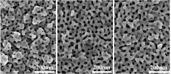 Electron micrographs of nanoporous gold materials that were fabricated using different sizes of micelles. Pore size increases from left to right.