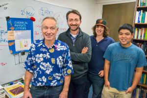 (From left) Richard Saykally, David Prendergast, Jacob Smith and Royce Lam were part of a team that has provided valuable new insight into the formation of carbonic acid. (Photo by Roy Kaltschmidt)