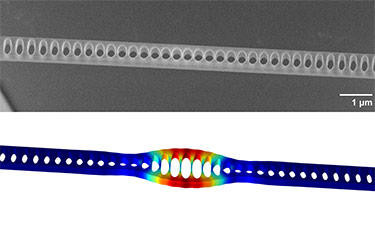 """At top is an electron micrograph of a silicon nitride beam, which can act as a highly accurate """"quantum thermometer"""" through measurements of its tiniest vibrations.  The bottom shows how the beam deforms as it vibrates (length scale greatly exaggerated) with the red regions showing the most deformation, and the blue regions not moving at all. @ Purdy et al., NIST/JQI"""
