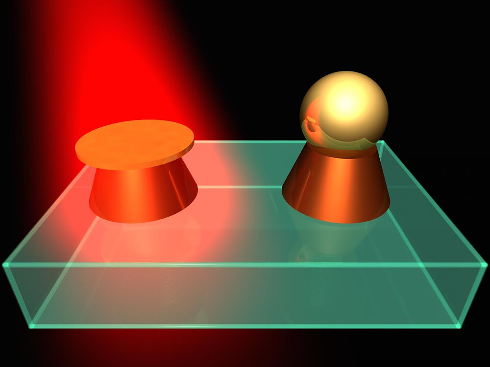 Selective laser exposure to create hybrid nanostructures. CREDIT ITMO University