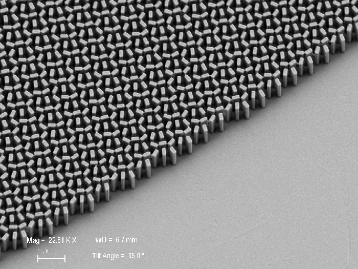 Scanning electron microscope micrograph of the fabricated meta-lens. The lens consists of titanium dioxide nanofins on a glass substrate. Scale bar: 2 mm (Image courtesy of the Capasso Lab)