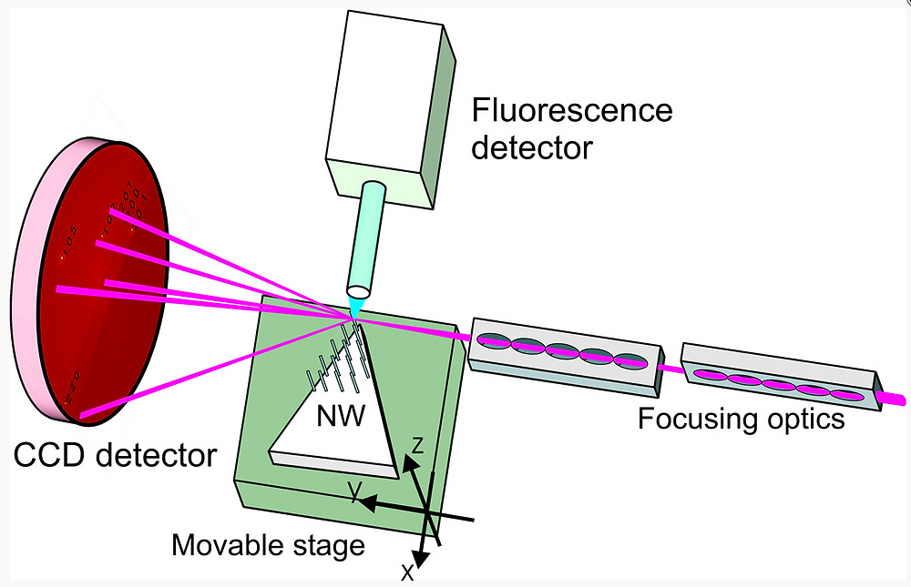 Experiment setup. A series of nanowires were scanned in the nanofocused X-ray, while the reflections from the different crystal planes of the nanowires were measured. The location of the reflections provides information about tilt and deformations in the nanowires.