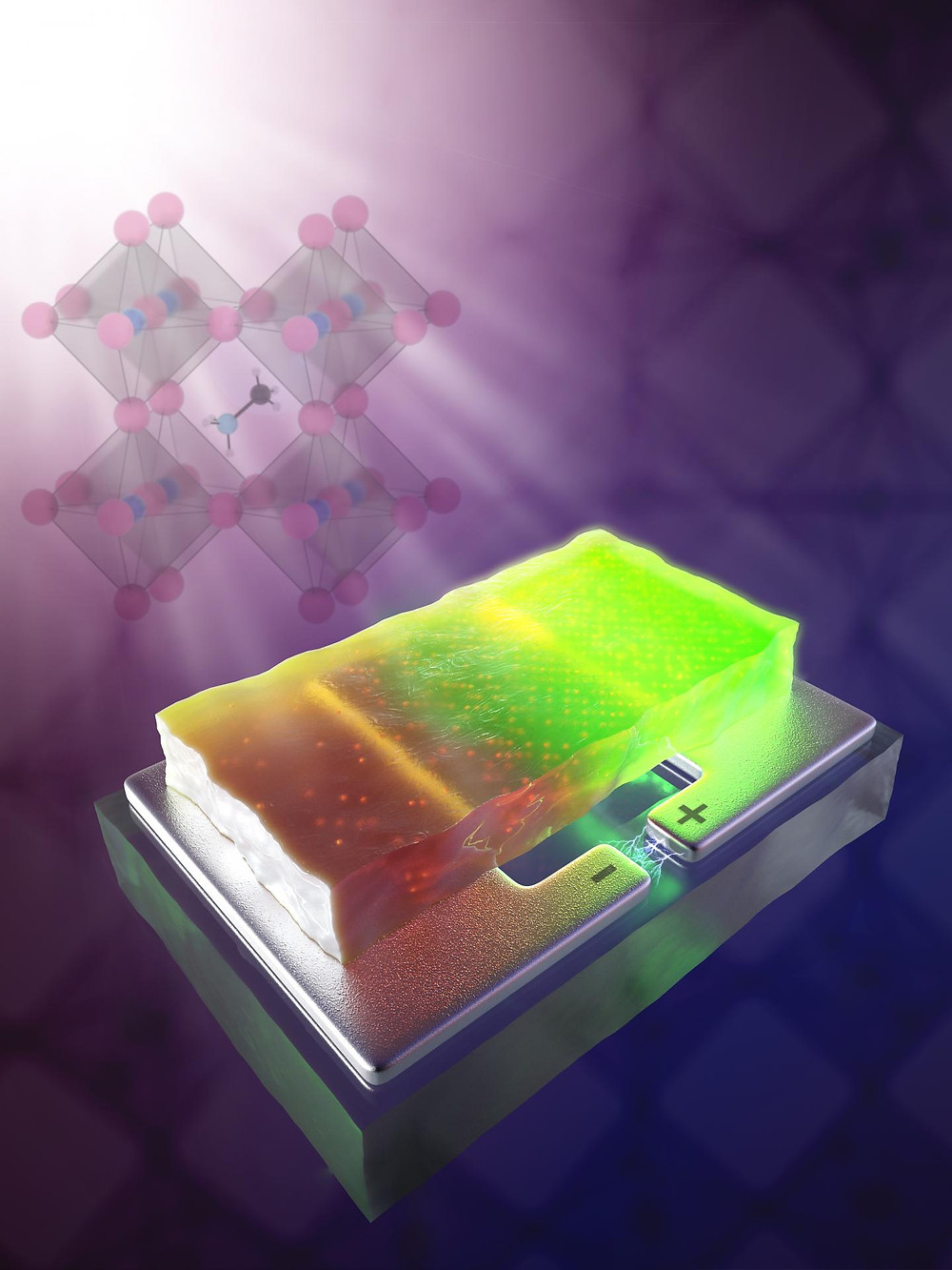 The inside back cover image of the Nov. 20, 2017 issue of Advanced Materials illustrates how ion migration in a hybrid perovskite crystal affects solar cell performance in different areas of the crystal. @ AMOLF