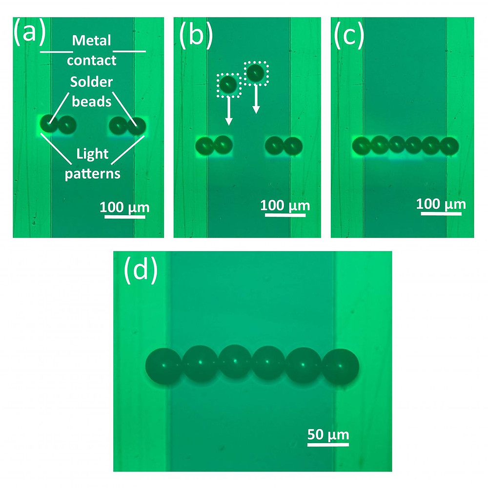 Researchers used optoelectronic tweezers to assemble a line of solder beads. By removing the liquid with a freeze-drying approach, the assembled beads stay fixed after the liquid is removed. @ Shuailong Zhang