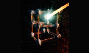 Schematic illustration of the Vanadium Dioxide atomic structure. Image Credit: Greg Stewart/SLAC National Accelerator Laboratory