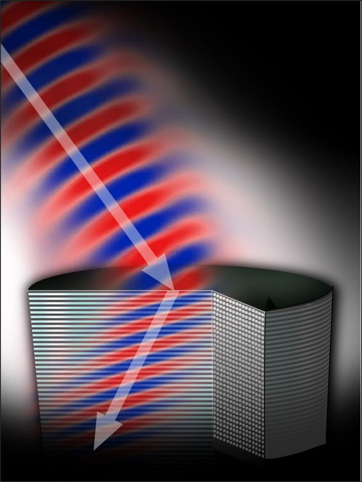 The shape and positioning of the rods in this metamaterial cause light--the arrow--to bend at a negative angle, a process called negative refraction. Better understanding of this dynamic will speed the development of new metamaterials such as perfect lenses and invisibility cloaks, says Michigan Tech's Elena Semouchkina. @ Navid Ganji, Michigan Tech