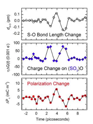 The upper panel shows a change of the S-O bond length as a function of the delay time. The maximum change of 0.1 pm is 1000 times smaller than the bond length itself, i.e., the atomic motions cannot be observed in Fig. 2. Middle panel: Charge transfer from one oxygen atom to the SO3 group of the sulfate ion (left black arrows in Fig. 2) as a function of delay time. Lower panel: Change of the macroscopic polarization P along the c axis which is the sum of all microscopic dipole changes of the local S-O dipoles within the sulfhate ions (red and blue arrows in Fig. 1 bottom right).  @ MBI Berlin