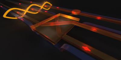 An artist's rendering of the quantum Fredkin (controlled-SWAP) gate, powered by entanglement, operating on photonic qubits. Raj Patel and Geoff Pryde, Center for Quantum Dynamics, Griffith University.