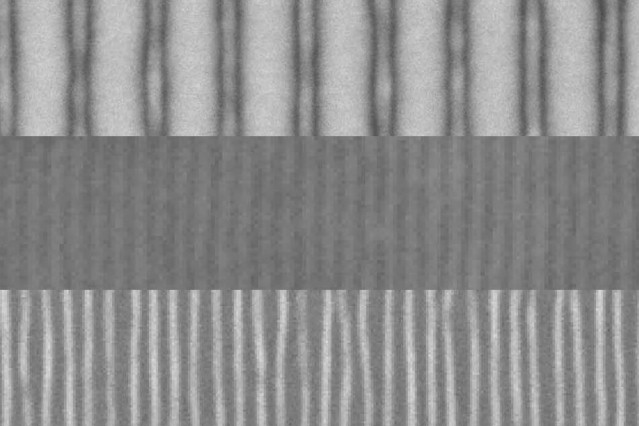 These scanning electron microscope images show the sequence of fabrication of fine lines by the team's new method. First, an array of lines is produced by a conventional electron beam process (top). The addition of a block copolymer material and a topcoat result in a quadrupling of the number of lines (center). Then the topcoat is etched away, leaving the new pattern of fine lines exposed (bottom).  Courtesy of the researchers