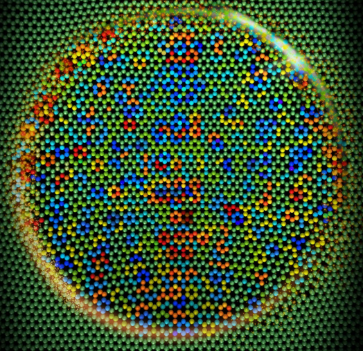 Monolayer graphene sliding over a silicon tip. Different colors show the different values of friction force on the contact area. @ Figure: Suzhi Li/KIT)
