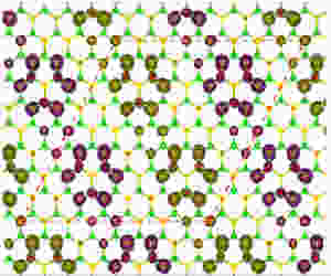 A density functional theory calculation showed the magnetic properties of a fluorinated sample of hexagonal boron nitride. This version is anti-ferromagnetic, determined by how the fluorine atoms (red) attach to the boron and nitrogen matrix. @ Ajayan Group/Rice University