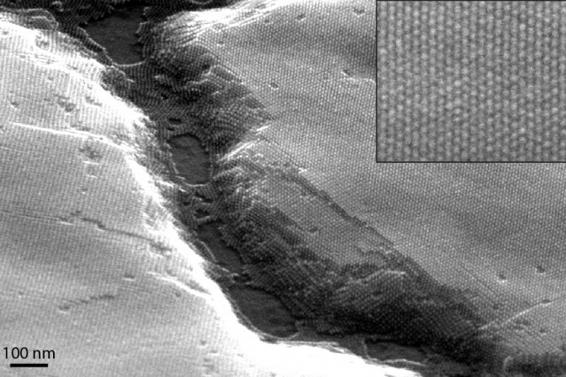 A scanning electron micrograph of a nanocrystal superlattice shows long-range ordering over large domains.  Image courtesy of the Tisdale Lab.
