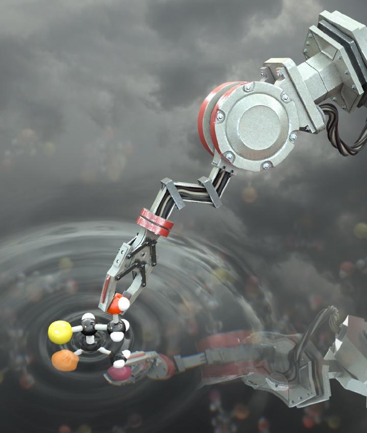 Artist's impression of the molecular robot manipulating a molecule. CREDIT Image @ Stuart Jantzen, www.biocinematics.com