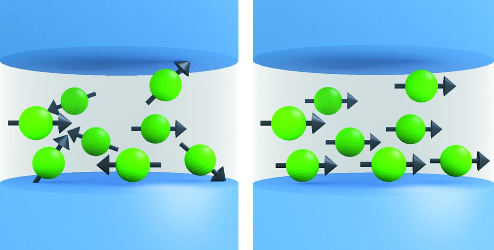 "Illustrations showing the basic operation of NIST's artificial synapse, which could connect processors and store memories in future neuromorphic computers operating like the human brain. A synapse is a connection or switch between two brain cells. NIST's artificial synapse is a tiny metal cylinder that processes incoming electrical spikes to customize spiking output signals based on a tunable internal design. Researchers apply current pulses to control the number of nanoclusters pointing in the same direction, as depicted in the ""disordered"" versus ""ordered"" cartoons. This design, in which different inputs alter the alignment and resulting output signals, is inspired by how the brain operates.  @ NIST"