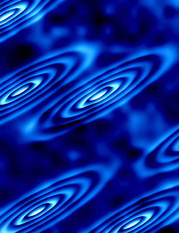 Strange electron orbits form on the surface of a crystal in this image created using a theoretical data model. These orbits correspond to the electrons being in different 'valleys' of states, yielding new insights into an area of research called 'vallytronics,' which seeks alternative ways to manipulate electrons for future electronic applications. CREDIT Image courtesy of Ali Yazdani, Department of Physics, Princeton University
