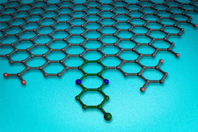 A new carbon-based catalyst can bond to the edges of two-dimensional sheets of graphene.  Courtesy of the researchers