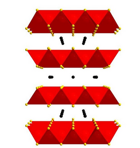 This is the tetragonal crystal structure of NaFe2As2, courtesy of Alexander Goncharov. Sodium (Na) is represented by the black balls, iron (Fe) by the red balls, and arsenic (As) by the yellow balls. Courtesy of Alexander Goncharov.
