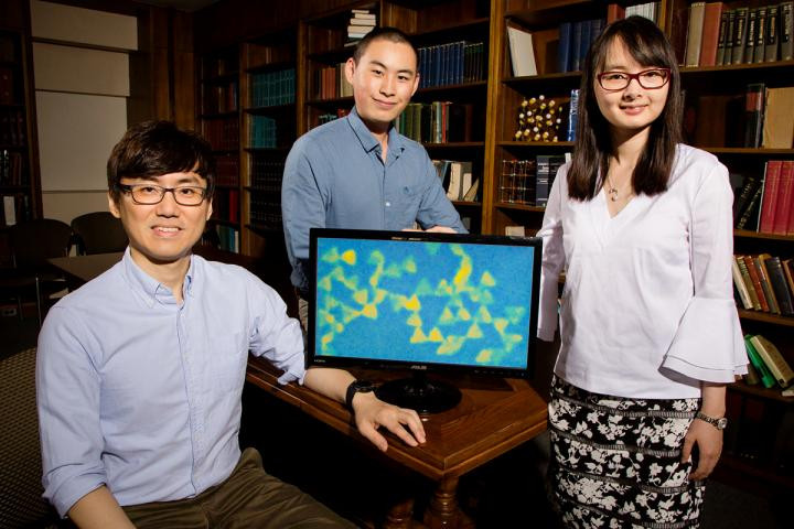 University of Illinois postdoctoral researcher Juyeong Kim, left, graduate student Zihao Ou and professor Qian Chen have developed a new technique for observing colloidal nanoparticles while they interact and self-assemble. @ L. Brian Stauffer