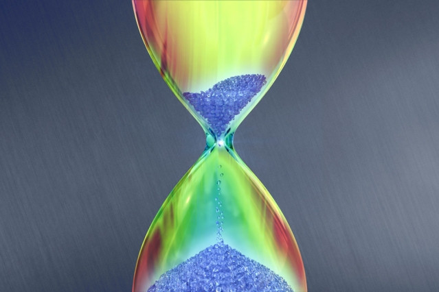 A schematic picture showing the conical dispersion of a Dirac cone being deformed into a new hour-glass-like shape due to radiation. Courtesy of the researchers