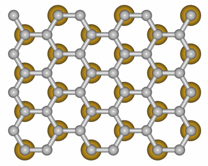 The model illustrates how the gold atoms sit under the graphene. Credit: HZB